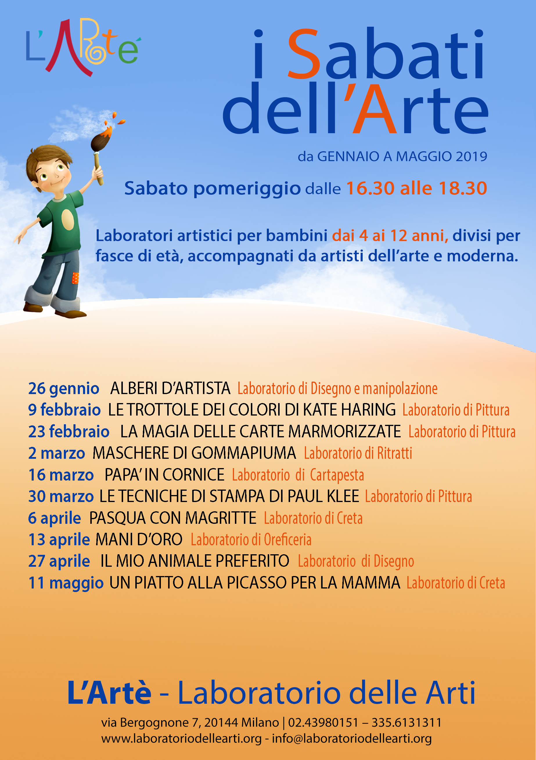Sabati Dell'Arte – Da Gennaio A Maggio 2019